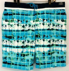 Roundtree Yorke Sz XL Mens Swim Shorts Trunks Blue Green Palm Tree Lined Pocket
