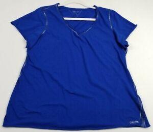 Calvin Klein Performance Women's Short Sleeve Activewear T Shirt 1X Blue Raw Hem