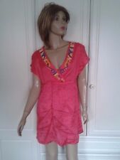 SOUTH CORAL PINK TUNIC TOP/DRESS/BEACH COVER UP BEADED SIZE 12 BNWT