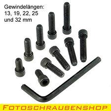 """SET 10x 1/4""""-Fotoschrauben, Zylinderkopf mit Innenschskantschlüssel, Zollgewinde"""