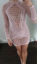 Vestido de punto de ganchillo hecho a mano, estilo Balmain, como se ve en Kardashian, Rosa Talla S-M