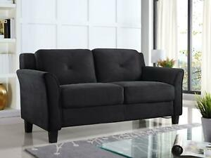 Lifestyle Solutions Taryn Curved Arm Fabric Loveseat, Black
