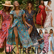 UK Women Wrap Summer Boho Floral Paisley Maxi Print Dress Ladies Holiday Beach