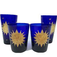 VTG Culver USA Cobalt Blue Glasses Celestial Sun Stars Atomic MCM Barware SET 4