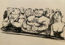 Evgeny Teis - In the theatre. Vintage drawing. Rare.
