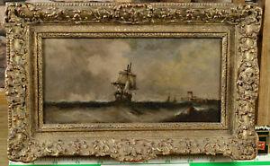 antikes Ölgemälde Marine maritim Segelschiff Brandung Meer Leuchtturm Schiffe