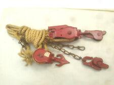 Vtg USA Starline Block & Tackle Barn Pulley Hay Trolley Rope Hoist Old Farm Tool