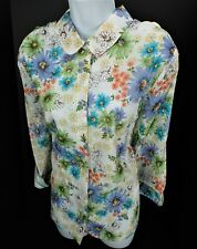 16 Alfred Dunner Key Biscayne Floral Eyelet NWT Button Front Front 3/4 Sleeve