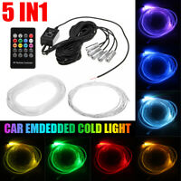 5 In 1 Car Interior RGB LED Neon Strip Light Tube Atmosphere Decor Lamp   F