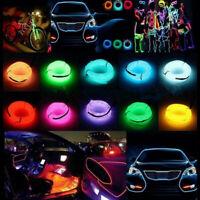 Car Neon Flexible LED Light Strip Glow EL Wire String Rope 3V/12V USB Controller