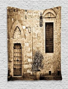 Rustic Tapestry Stone House Sepia View Print Wall Hanging Decor 60Wx80L Inches