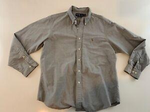Ralph Lauren Custom Fit Long Sleeve Button Front Shirt Men's 17 1/2 34/35 Gray