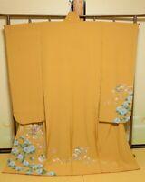 Furisode Silk Kimono Women Japanese Wedding Robe Flower 165cm Long /742