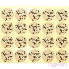 60 x Kraft Brown Thank You Round Stickers Mini DIY Craft Labels Wedding Favours