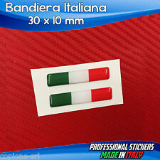 2 Adesivi Resinati Stickers 3D Flag Bandiera ITALIA 3 x 1 cm