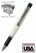 Knurl Chrome & Black Ballpoint Pen with a Solid Surface Body & Fisher Ink / #13