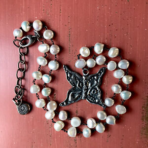 JES MAHARRY 'LOVE TRANSFORMS' NECKLACE- SS & FRESH WATER PEARLS - Retired