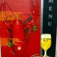 Vintage Carta Blanca Beer Lobster The Old Mexican Cafe Menu English Spanish