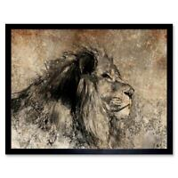 Painting Drawing Sketch Animal Lion Male Sepia 12X16 Inch Framed Art Print