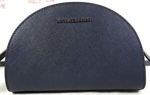Michael Kors Jet Set Travel Half Moon NAVY Saffiano Leather Crossbody Bag