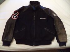 "Reebock ""The 90's"" Partial Leather Jacket - Size Large - Black - Letterman Type"