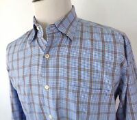 Peter Millar Large Shirt Button Front LS Plaid Checkered Blue Brown White