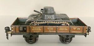 Marklin 0-gauge #17740 R – low side flat car (neiderbordwagen)  with Gama Tank