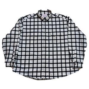 Vintage 3XL Filson Black / White Plaid 100 % Cotton Heavy Flannel Button Down