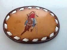 vintage Tony Lama leather embroidery rodeo belt buckle pigtail girl on horse