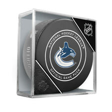 Vancouver Canucks Sherwood Official NHL Game Puck in Cube
