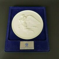 VINTAGE ROYAL COPENHAGEN PORCELAIN WALL PLAQUE EMBOSSED ANGEL AND BABY