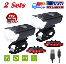 2 Sets USB Rechargeable LED Bicycle Headlight Bike Front Rear Lamp Cycling USA