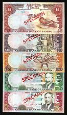 SAMOA NO 0315 SPECIMEN SET 5 10 20 50 100 TALA 2002 - 2006 UNC  P 33 34 35 36 37