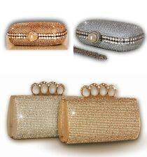 Neu Strass Funkelnd Silber Gold Clutch Hochzeit Abend Perle Ring Verschluss