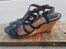 Clarks Artisan Black Leather Wedge Sling Back  Sandal.  Size.11M
