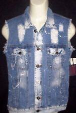 MENS BROOKLYN CLOTH VINTAGE DISTRESSED BLUE DENIM JEAN VEST SIZE S