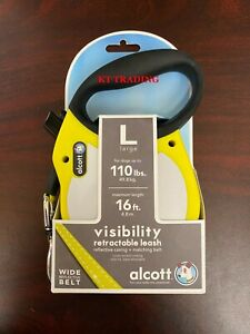 ALCOTT ~ VISIBILITY Wide Reflective Belt RETRACTABLE DOG LEASH 16ft Max 110lbs
