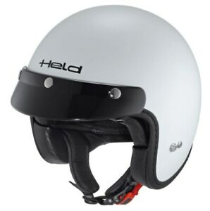 Held Motorcycle Scooter Openface Jet Black Bob With Sun Visor Size S IN White