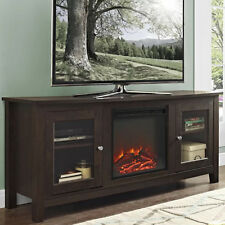 Electric Fireplace TV Stand Brown Media Wood Console Heater Entertainment Center