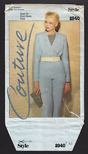 Vintage 2940 Style Couture Misses' Jacket Skirt Trousers Top Pattern 10 ~ 1980