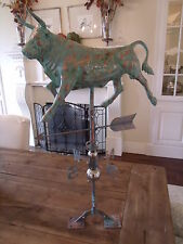 Large Handcrafted 3D 3 Dimensional Cow Bull Weathervane Copper Patina Finish