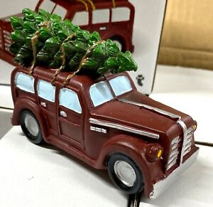 Driving Home At Christmas Tree on Roof Vintage Car Ornaments Decorations