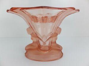 Art Deco 1930s Walther & Sohne Pink Depression Glass 'Windsor' Vase Flower Frog