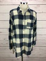 Soft Surroundings Blue Plaid Button Floral Back Long Slv Shirt Tunic Top Size S
