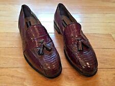 Men's Stacy Adams Genuine Snake Skin Brown Leather Shoes Tassel Size 10.5M