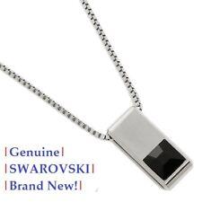 Swarovski Men's CENTER PENDANT NECKLACE with Black Crystal New in Gift Box!