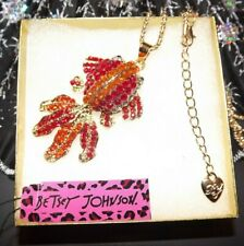 Betsey Johnson Goldfish Koi Red Necklace Pendant Crystal Enamel Gift Box Bag NWT