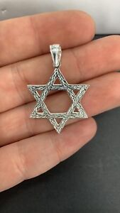 Solid 925 Sterling Silver Large Star of David Jewish Pendant