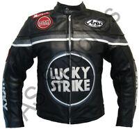 LUCKY STRIKE Veste de Moto en Cuir Blouson Motard - Noir / Gris