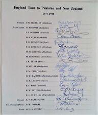 ENGLAND TO PAKISTAN & NEW ZEALAND 1977-78 OFFICIAL CRICKET AUTOGRAPH TEAM SHEET